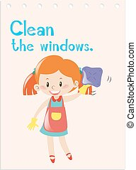 Action verb flashcard with girl cleaning windows