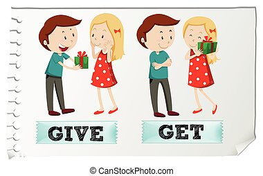 Action verbs give and get illustration