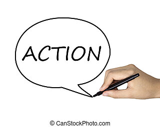 action word in speech bubble