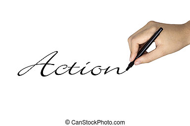 action word written by human hand