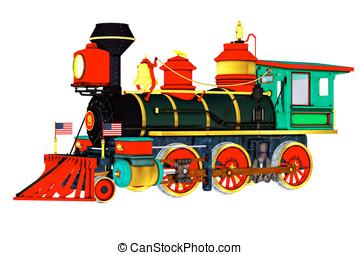 actionné, train vapeur