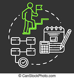 Actions chalk RGB color concept icon. Long-term plan. Climbing career ladder. Opportunities for success. Business management idea. Vector isolated chalkboard illustration on black background