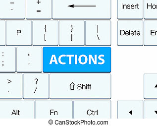 Actions cyan blue keyboard button