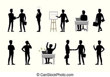 actions., ge sig sken, affärsmän, olik, silhouettes