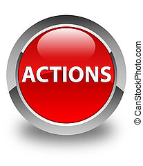 Actions glossy red round button