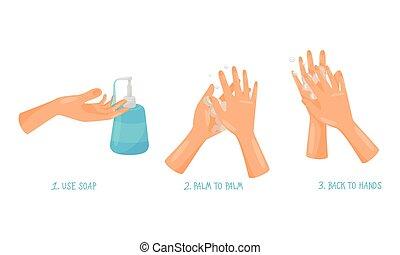 actions, illustré, correctement, comment, pointes, mains,...
