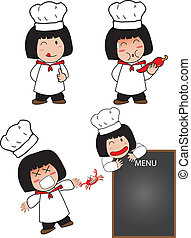 Actions of little cook girl