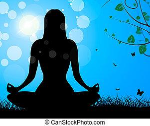 actitud del yoga, exposiciones, medite, calma, y, armonía