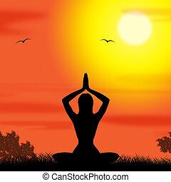 actitud del yoga, medios, cuerpo, calma, y, meditar