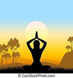 actitud del yoga, medios, escénico, verde, y, medite