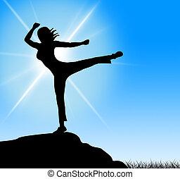 actitud del yoga, medios, espiritual, silencio, y, meditado