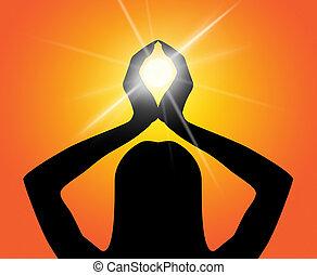 actitud del yoga, medios, ilustración, meditar, y, tacto