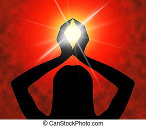 actitud del yoga, medios, meditar, espiritualidad, y, meditación