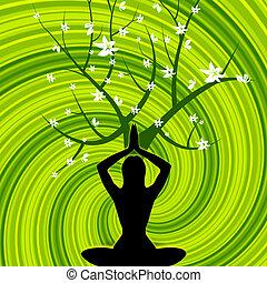 actitud del yoga, medios, relajante, relajación, y, balance
