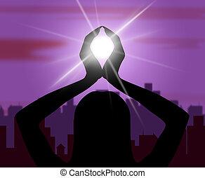 actitud del yoga, medios, sentimiento, postura, y, posturas