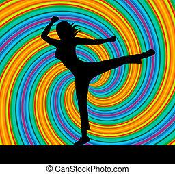 actitud del yoga, representa, armonía, balance, y, zen
