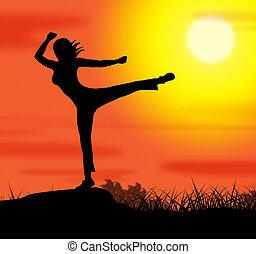 actitud del yoga, representa, bienestar, relajación, y, espiritualidad