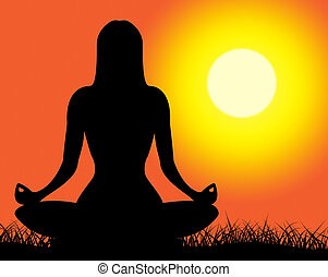 actitud del yoga, representa, pacífico, postura, y, espiritual