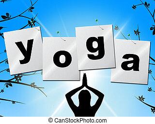 actitud del yoga, representa, postura, balance, y, ilustración
