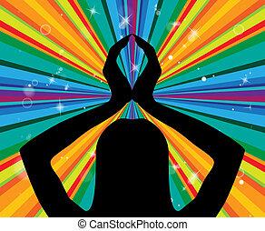 actitud del yoga, representa, silencio, postura, y, armonía