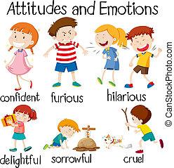 actitudes, emociones, conjunto, niños