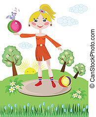 Activ girl with ball