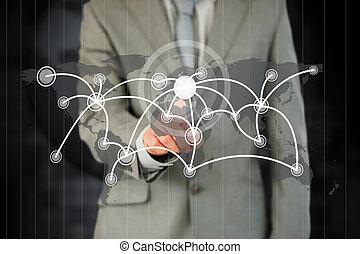 activante, futurista, touchscreen, hombre de negocios