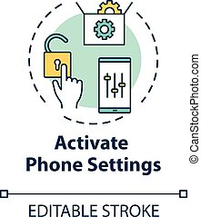 Activate phone settings concept icon. Customize mobile menu. Smartphone interface control. Roaming idea thin line illustration. Vector isolated outline RGB color drawing. Editable stroke
