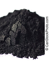 Activated charcoal powder shot with a macro lens