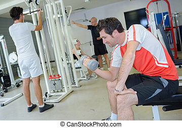 active adults in fitness club