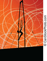 Active and strong children in gymnastics rings sport...