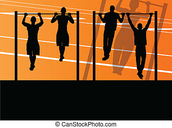 Active and strong fitness man doing push ups in sport silhouettes gym background illustration vector