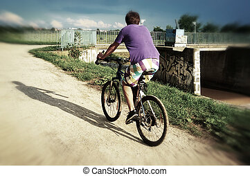 Active bicyclist riding