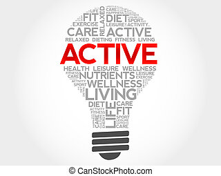 ACTIVE bulb word cloud, health concept