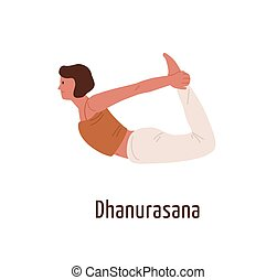 Active cartoon female in dhanurasana position vector flat illustration. Flexible yogi woman demonstrating Bow pose isolated on white. Girl character practicing Hatha yoga