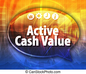 Active cash value Business term speech bubble illustration