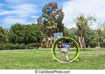 Active child playing in park