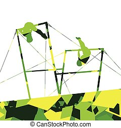 Active children sport boy silhouettes on uneven bars in abstract mosaic background illustration