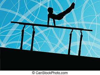 Active children sport silhouette on parallel bars vector...