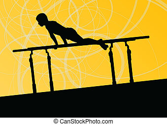 Active children sport silhouette on parallel bars vector abstract background illustration for poster