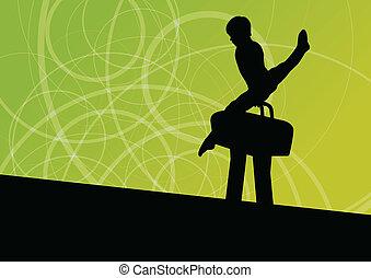 Active children sport silhouette on pommel horse vector abstract background illustration for poster