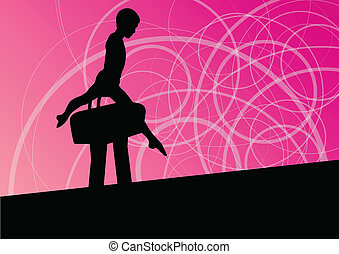 Active children sport silhouette on pommel horse vector abstract background illustration for poster
