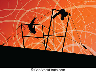 Active children sport silhouettes on uneven bars vector...