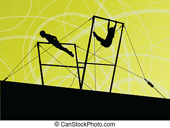 Active children sport silhouettes on uneven bars vector abstract background illustration for poster