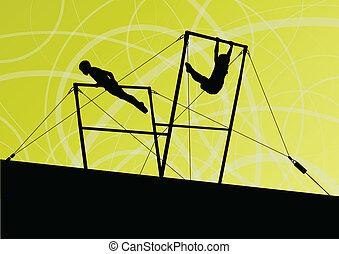 Active children sport silhouettes on uneven bars vector ...