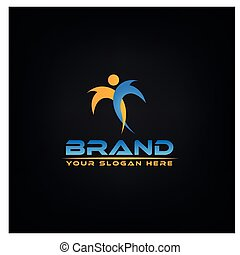 Active colorful people.  logo vector concept