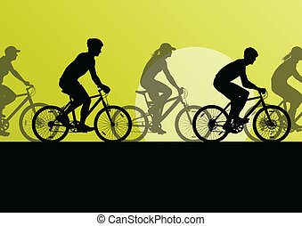 Active cyclists bicycle riders in countryside nature landscape background illustration vector