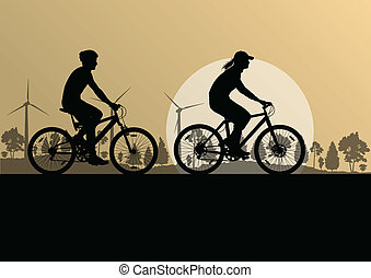 Active cyclists bicycle riders in countryside nature...