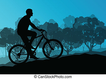 Active cyclists bicycle riders in wild forest nature landscape background illustration vector