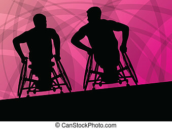 Active disabled man in a wheelchair detailed sport concept silhouette abstract illustration background vector